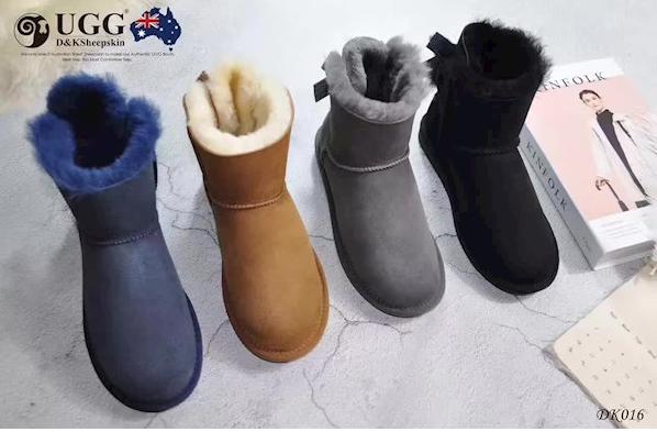 DK UGG DK016 防泼水灯芯绒单蝴蝶结 皮毛一体低筒mini雪地靴
