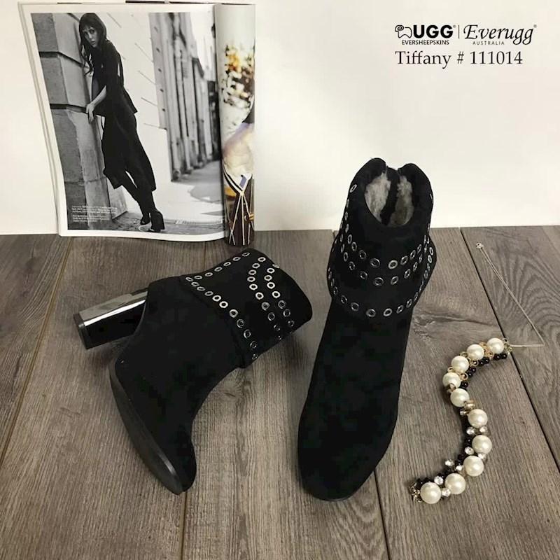 EVER UGG Tiffany 111014 黑色镶空高跟短靴
