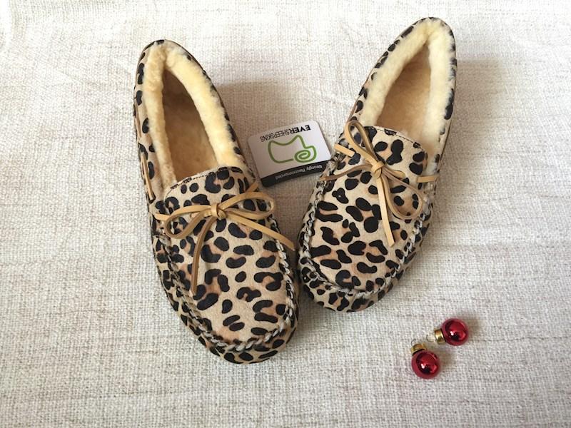 EVER 11653 豹纹带毛豆豆鞋