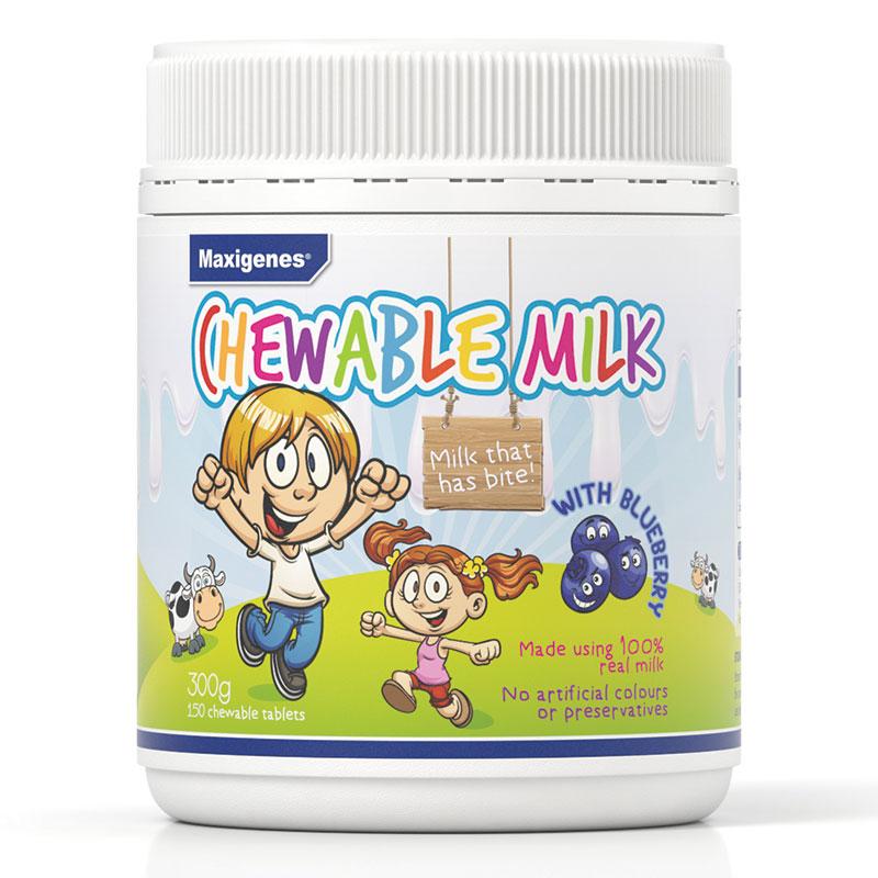 【特价】4瓶装 包邮!Maxigenes美可卓蓝莓味宝宝儿童咀嚼奶片150粒