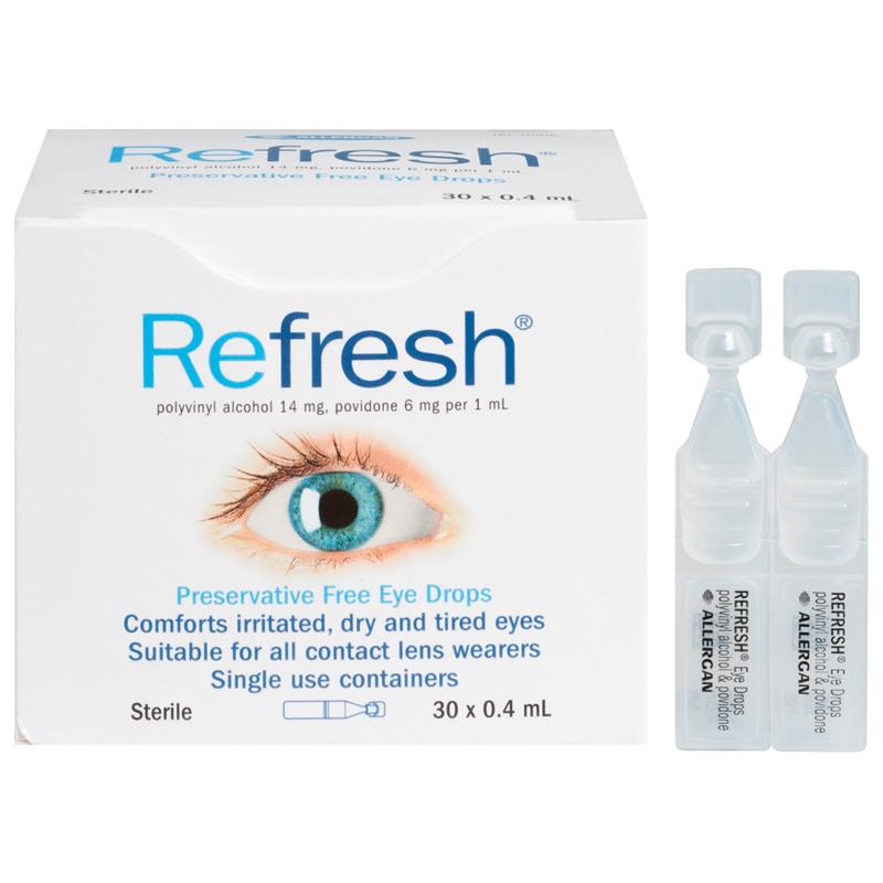 包邮!4盒 Refresh无防腐剂滴眼液0.4mL 30支