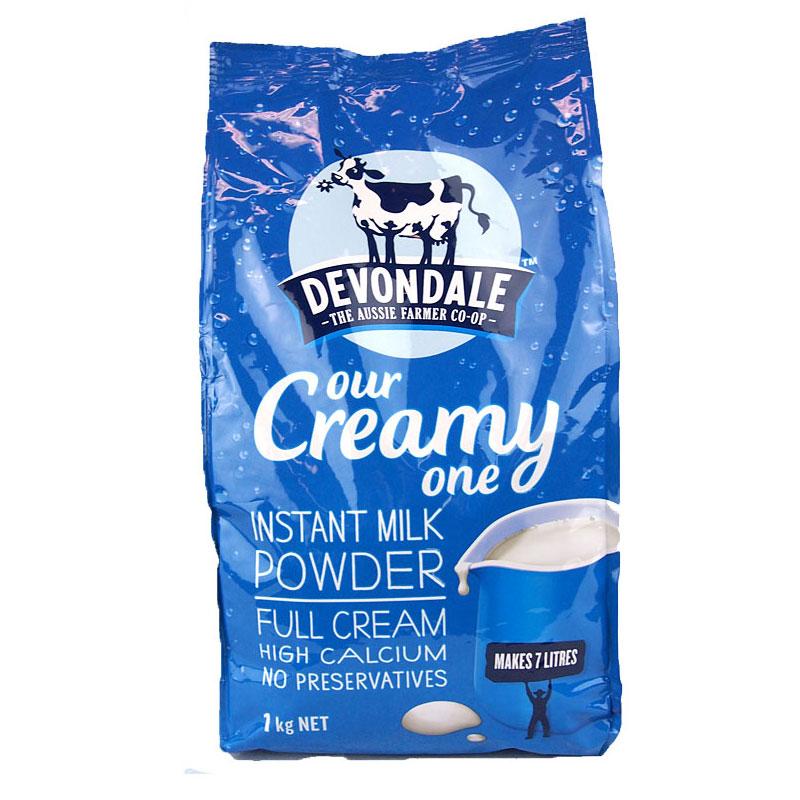 3袋包邮!Devondale德运高钙速溶全脂奶粉 1kg