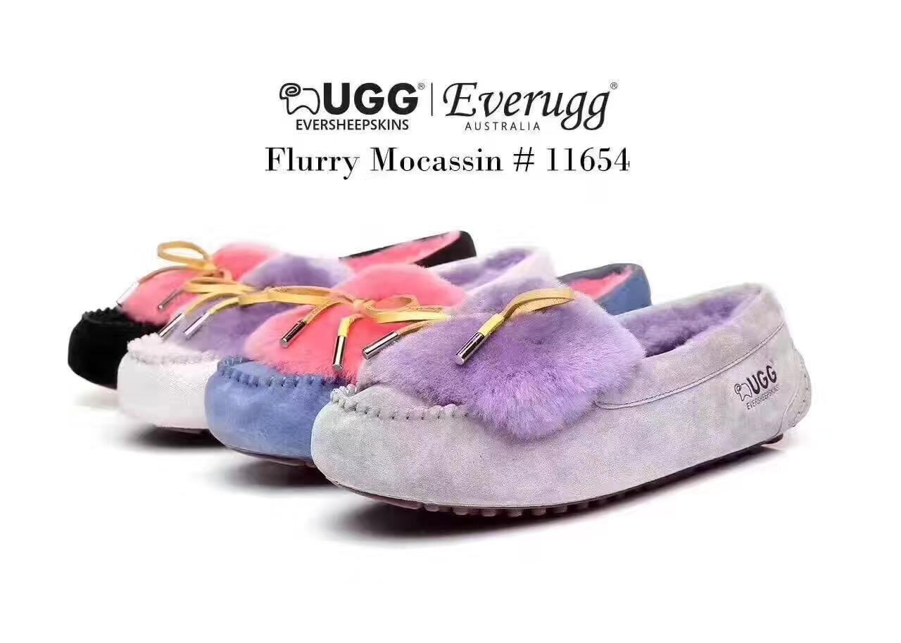 拼团!【EVER UGG 11654】Fluffy Moccasin双色撞色豆豆鞋
